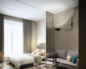 Кровать в зале — дизайн
